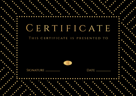 adult education: Certificate, Diploma of Completion with black Background, golden elemets pattern, border, gold frame. Certificate of Achievement, Graduation Certificate, School awards, winner certificate Illustration