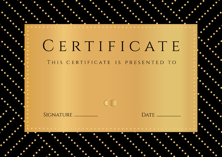 finishing school: Certificate, Diploma of Completion with black Background, golden elemets pattern, border, gold frame. Certificate of Achievement, Graduation Certificate, School awards, winner certificate Illustration