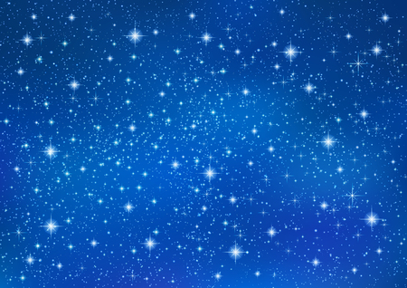 Sparkling twinkling Stars on abstract Blue background. Cosmic shiny galaxy (atmosphere). Holiday blank backdrop texture for Christmas (Xmas), Happy New Year , glow milky way elements (fantasy sky)