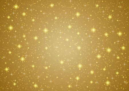 shiny gold: Sparkling twinkling Stars on abstract Gold background. Cosmic shiny galaxy (atmosphere). Holiday blank texture for Christmas (Xmas), Happy New Year , golden glow milky way elements (fantasy sky) Illustration