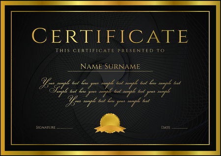 debenture stock: Certificate, Diploma of completion (design template, background) with guilloche pattern (watermark), rosette, border, frame. Black, gold Certificate of Achievement  education, coupon, award, winner