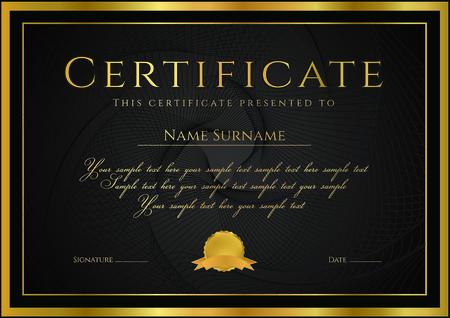 Certyfikat, Dyplom ukończenia (projekt szablonu, tło) z grawerowanego wzoru (znak wodny), rozety, obramowanie, ramki. Czarny, Certyfikat złoto Achievement / Edukacja, kupon, Nagroda, zwycięzca Ilustracje wektorowe