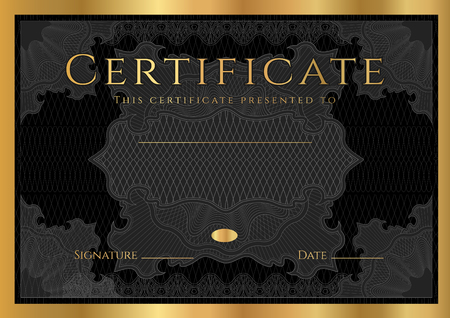 completion: Certificate, Diploma of completion (design template, background) with guilloche pattern (watermark), rosette, border, frame. Black, gold Certificate of Achievement  education, coupon, award, winner