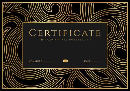 証明書、ディプロマ ギョーシェ パターン (透かし模様)、ロゼット、境界線、フレーム完成 (デザイン テンプレート、背景)。黒、金の達成証明書教