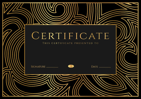 Certificate, Diploma of completion (design template, background) with guilloche pattern (watermark), rosette, border, frame. Black, gold Certificate of Achievement  education, coupon, award, winner