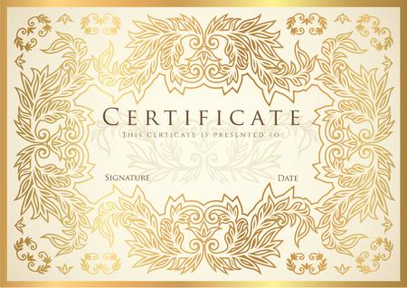 証明書、ディプロマ、繊細な花柄のスクロール枠完了 (黄金のデザイン テンプレート、白い背景) のフレーム。達成金証明書、クーポン、賞、受賞証明書 写真素材 - 83855260