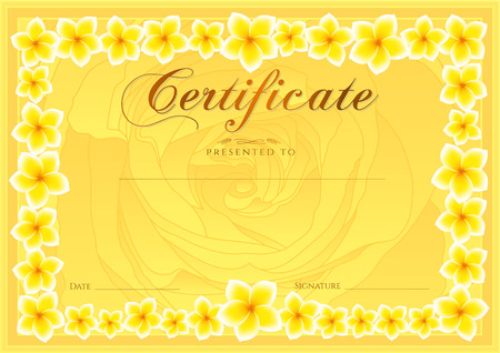 school: Certificate, Diploma of completion (Frangipani design template, flower background) with floral, pattern, border, frame. Coupon of achievement, School awards, pink female winner certificate