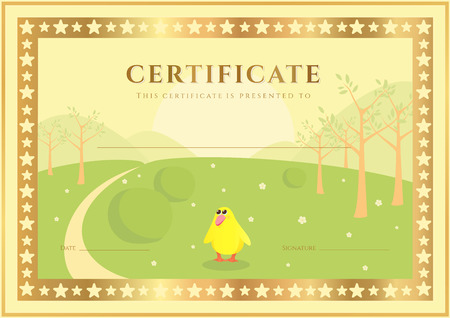 school: Horizontal Certificate of completion (template) with forest background (for children). Background usable for diploma, invitation, gift voucher or different awards. Vector