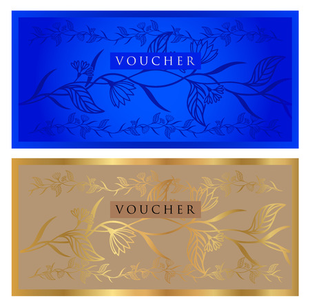debenture stock: Voucher, Gift certificate, Coupon, ticket template. Guilloche pattern (watermark, spirograph). Background for banknote, money design, currency, bank note, check (cheque), ticket. Gold, blue vector Illustration