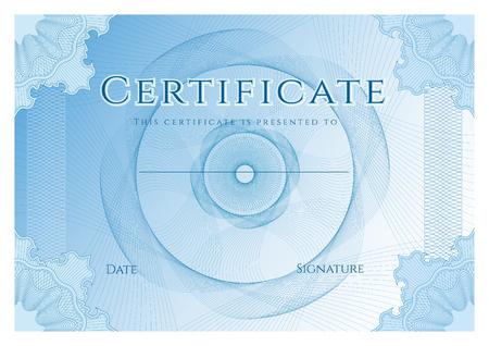 証明書、青いギョーシェ パターン (透かし) と完了 (デザイン テンプレート、背景) のディプロマ
