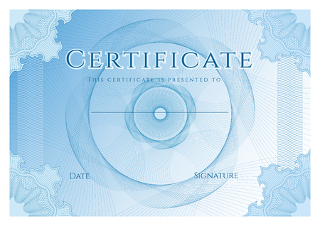 Certificate, Diploma of completion (design template, background) with blue guilloche pattern (watermark)