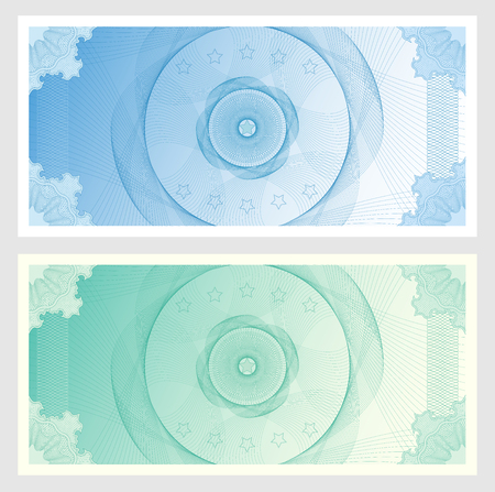 engravings: Voucher, Gift certificate, Coupon, ticket template. Guilloche pattern (watermark, spirograph). Blue background for banknote, money design, currency, bank note, check (cheque), ticket