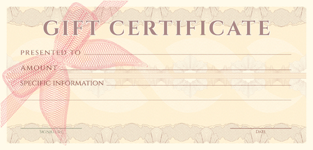 Voucher, Gift certificate, Coupon, ticket template. Guilloche pattern (watermark, spirograph). Background for banknote, money design, currency, bank note, check (cheque), ticket Illustration