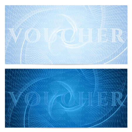 Voucher, Gift certificate, Coupon, ticket template. Guilloche pattern (watermark, spirograph). Blue background for banknote, money design, currency, bank note, check (cheque), ticket