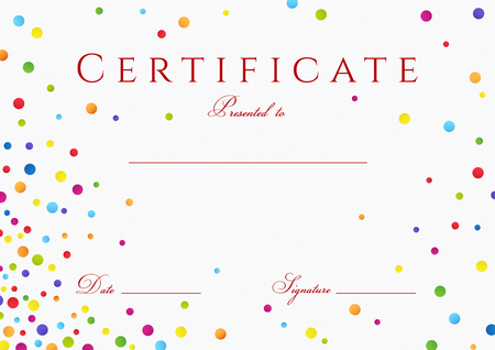 completion: Certificate, Diploma of completion with colorful (bright, rainbow) abstract  with circles rainbow texture for Certificate of Achievement Illustration