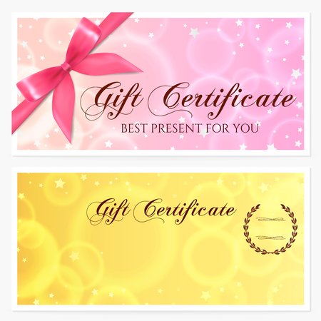 christmas gifts: Gift certificate, Voucher, Coupon, Invitation or Gift card template with sparkling, twinkling stars (texture) and bow (ribbon). Red, gold design for gift banknote, check, gift money bonus