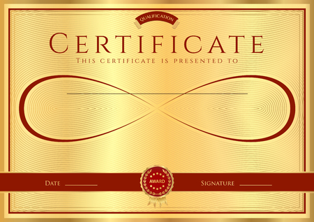 school: Certificate, Diploma of completion (abstract design template, background) with gold frame , dark red pattern and Infinity symbol