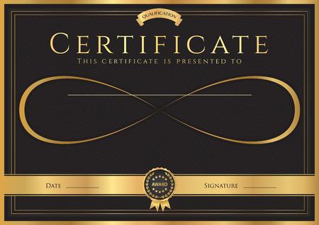 証明書、竣工 (抽象的なデザイン テンプレート) ゴールド フレーム、黒地無限大記号と卒業証書  イラスト・ベクター素材