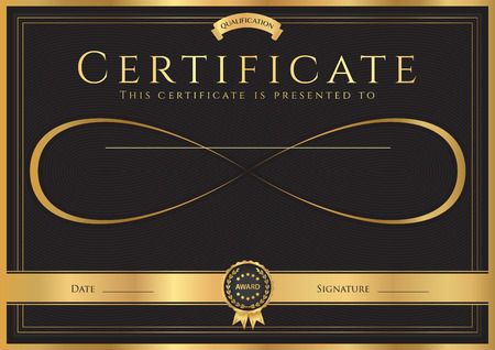 Certificate, Diploma of completion (abstract design template) with gold frame, black background and Infinity symbol