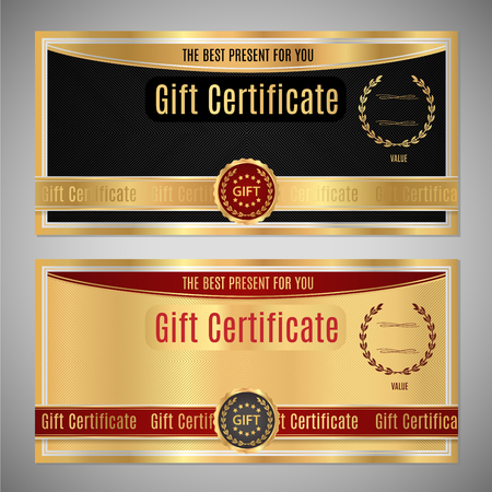Gift certificate, Voucher, Coupon template. Black and gold background design with gold frame. Illustration