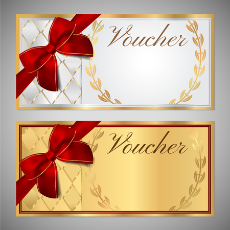 frame: Voucher, Gift certificate, Coupon template. White and gold background design with red bow (ribbon)  for ticket, money design.