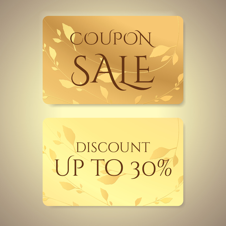 Gift coupon, gift card (discount card, gift voucher) with floral (leaf branch) gold pattern.