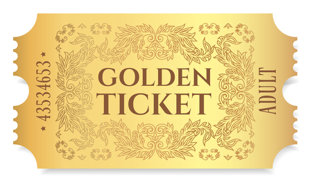 Gold ticket isolated vector Illustration