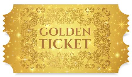 Billet d'or, jeton d'or (ticket de déchirement, coupon) avec un fond magique d'étoiles. Utile pour tout festival, fête, cinéma, événement, spectacle de divertissement