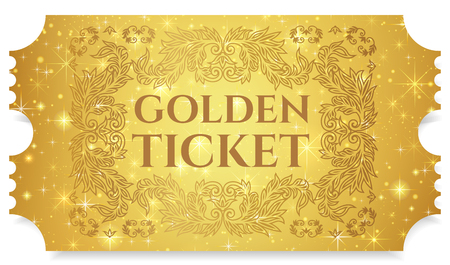 Gold ticket, golden token (tear-off ticket, coupon) with star magical background. Useful for any festival, party, cinema, event, entertainment show Ilustração