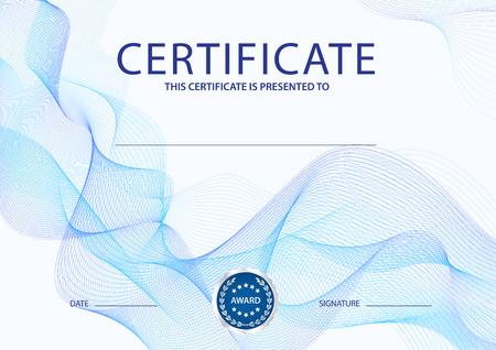 Certificaat, diploma van voltooiing (ontwerpsjabloon, achtergrond) met blauw guillochepatroon (watermerk, lijnen) Vector Illustratie