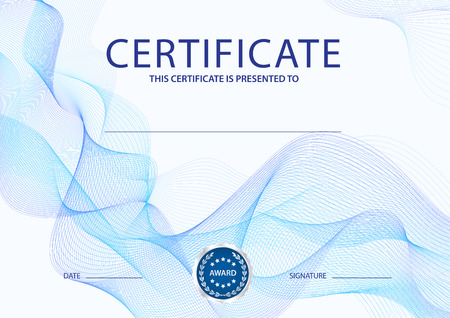 Certificate, Diploma of completion (design template, background) with blue guilloche pattern (watermark, lines) Vettoriali