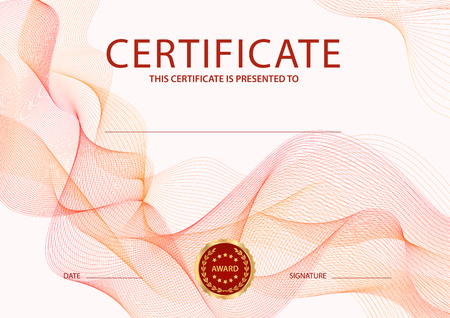 Certificate, Diploma of completion (design template, background) with guilloche pattern (watermark, lines)