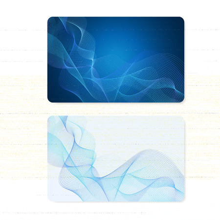 Business card, Gift card, coupon, (discount voucher) with Guilloche pattern (blue lines, watermark texture). Vector background for banknote, money design, currency, bank note, check (cheque), ticket Иллюстрация