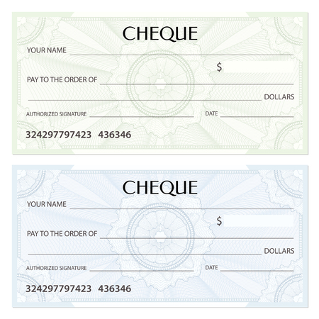 Check (cheque), Chequebook template. Guilloche pattern with watermark, spirograph. Background for banknote, money design, currency, bank note, Voucher, Gift certificate, Coupon, ticket Stock Vector - 88188848