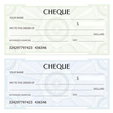 Controleer (cheque), chequeboekjessjabloon. Guilloche patroon met watermerk, spirograaf. Achtergrond voor bankbiljetten, geld ontwerp, valuta, bankbiljetten, voucher, cadeaubon, coupon, ticket