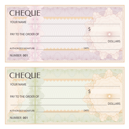 Check (cheque), Chequebook template. Guilloche pattern with watermark, spirograph. Background for banknote, money design, currency, bank note, Voucher, Gift certificate, Coupon, ticket Stock Vector - 88188844