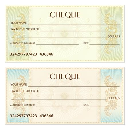 チェック (小切手)、小切手帳のテンプレートです。透かし、ギョーシェ パターン スパイロ グラフ。紙幣、金設計、通貨、銀行の背景に注意してく