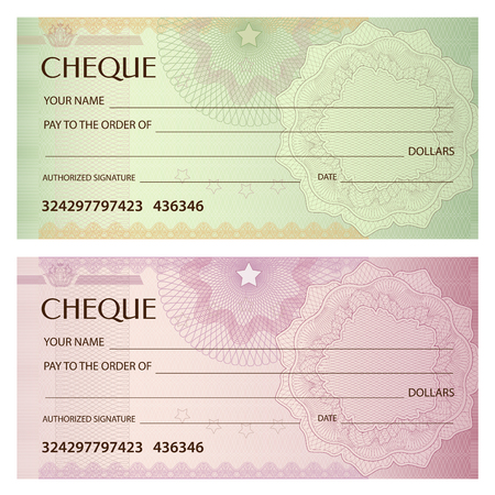 Check (cheque), Chequebook template. Guilloche pattern with watermark, spirograph. Background for banknote, money design, currency, bank note, Voucher, Gift certificate, Coupon, ticket 版權商用圖片 - 88188850