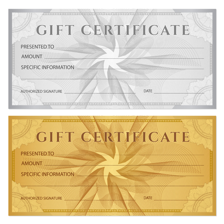Gift certificate, Voucher, Coupon, ticket template. Guilloche pattern (watermark, spirograph). Background for banknote, money design, currency, bank note, check (cheque), ticket
