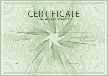 Certificate, Diploma of completion (design template, background) with green guilloche pattern (watermark)