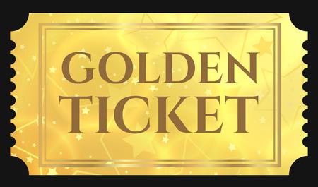 Biglietto d'oro, gettone d'oro (biglietto a strappo, coupon) con sfondo magico a stelle