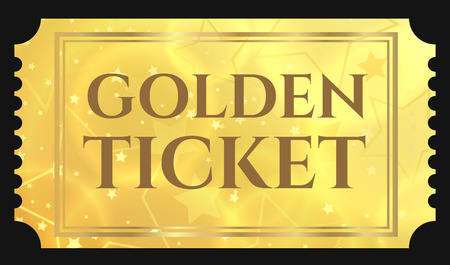 Gold ticket, golden token (tear-off ticket, coupon) with star magical background Vectores