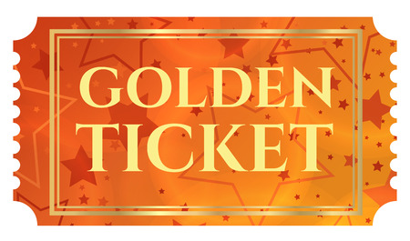Gold ticket, golden token (tear-off ticket, coupon) with star magical background Illustration