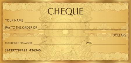 Verifique (cheque), modelo de talão de cheques. Padrão de guilhoché com filigrana, spirograph. Fundo para notas, projeto de dinheiro, moeda, nota de banco, comprovante, vale-presente, cupom, bilhete Ilustración de vector