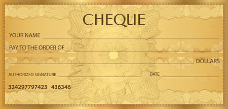 Check (cheque), Chequebook template. Guilloche pattern with watermark, spirograph. Background for banknote, money design, currency, bank note, Voucher, Gift certificate, Coupon, ticket