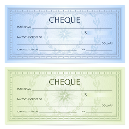 Check (cheque), Cheque book template. Guilloche pattern with watermark, spirograph. Background for banknote, money design, currency, bank note, voucher, gift certificate, coupon, ticket. Stock Vector - 92713153