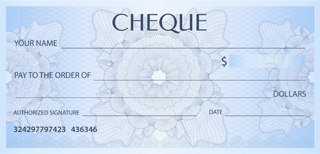 Check (cheque), Chequebook template. Guilloche pattern with watermark, spirograph. Background for banknote, money design, currency, bank note, Voucher, Gift certificate, Coupon, ticket Stock Vector - 103106472