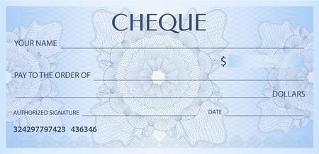 Cheque (cheque), plantilla de talonario de cheques. Patrón de labrada con filigrana, espirógrafo. Fondo para billete de banco, diseño de dinero, moneda, billete de banco, vale, certificado de regalo, cupón, boleto Ilustración de vector