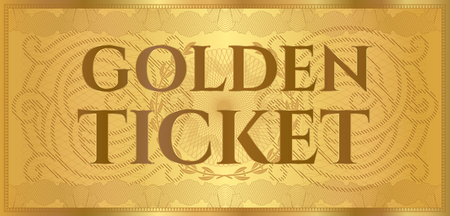 Gold ticket, golden token (coupon) isolated on white background. Useful for any festival, party, cinema, event, entertainment show Illustration