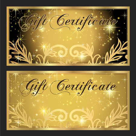 Voucher, Gift certificate, Coupon template. Gold and Black background design with stars for ticket, money design, check (cheque). Illustration